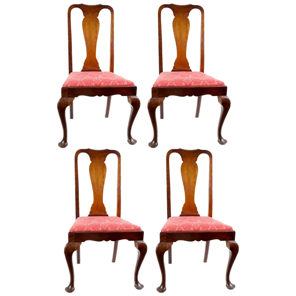Four Antique Queen Anne Style Dining Chairs ...