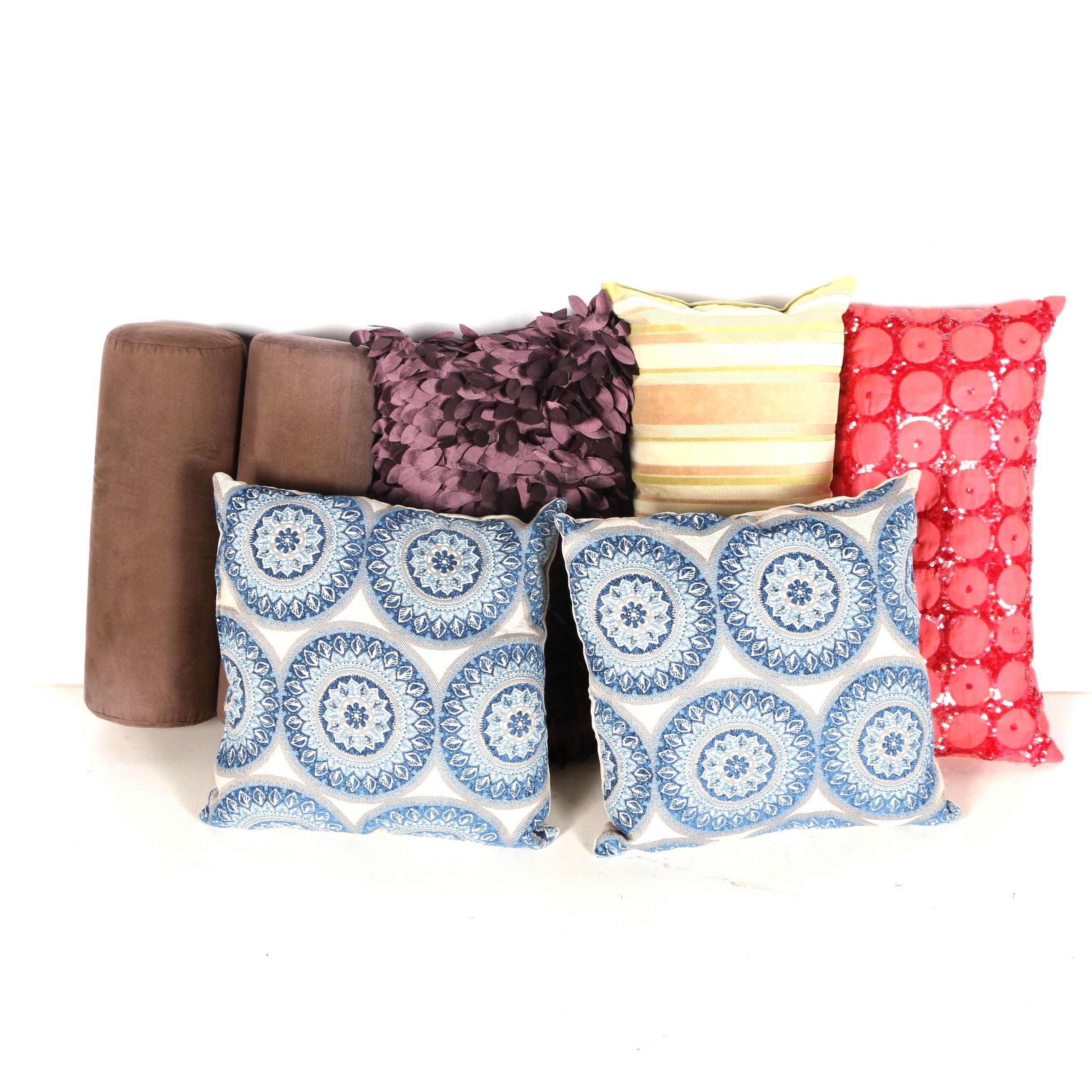 Assortment of Seven Decorative Designer Pillows with Velvet