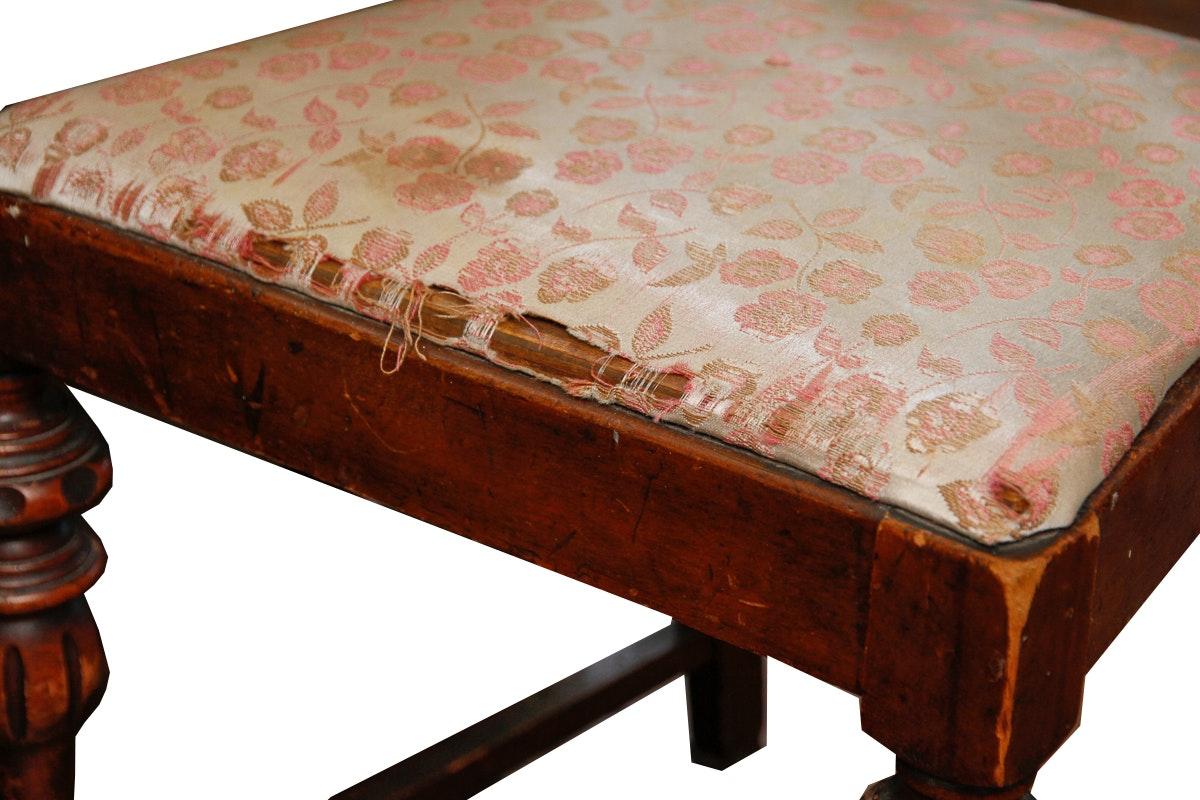 Vintage Art Nouveau Walnut Vanity With Chair Ebth