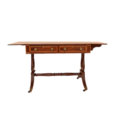 Duncan Phyfe Style Double Pedestal Drop Leaf Desk