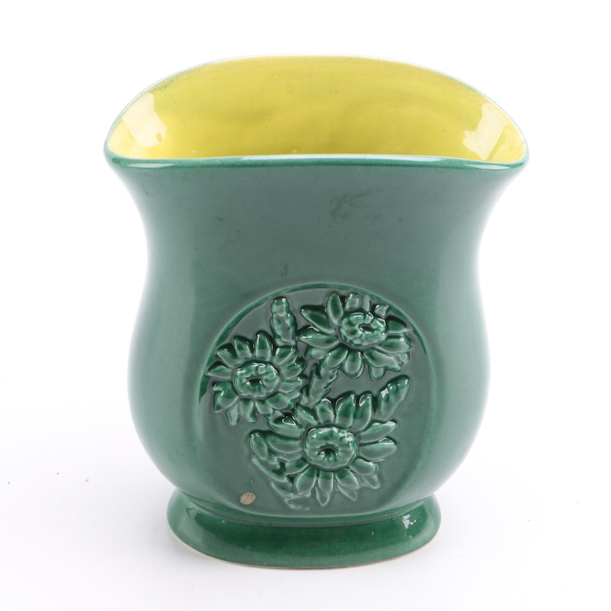 Green Red Wing Pottery Vase Ebth