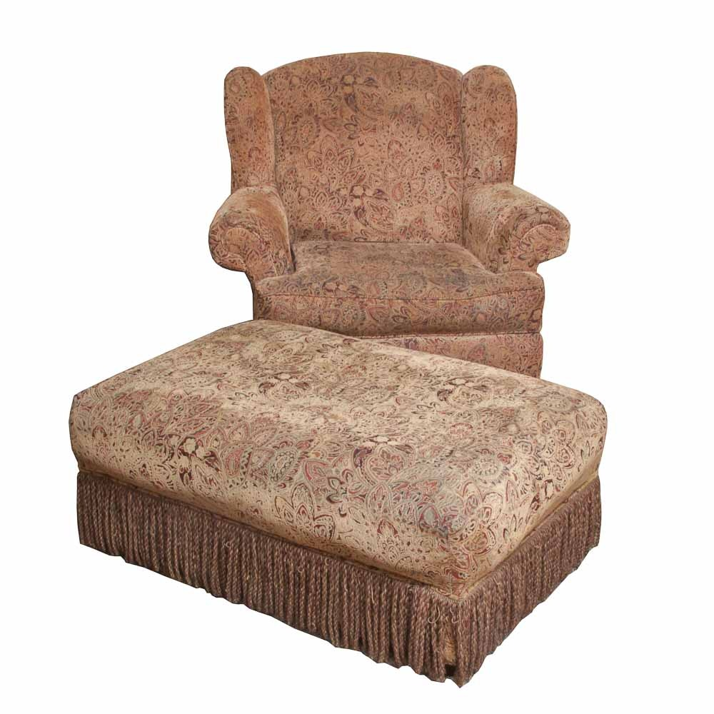Hillcraft Furniture Upholstered Chair And Ottoman ...