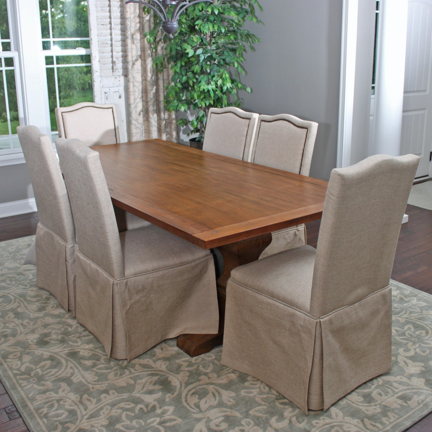Outstanding Double Pedestal Trestle Dining Room Table And Skirted Parson Chairs Pdpeps Interior Chair Design Pdpepsorg