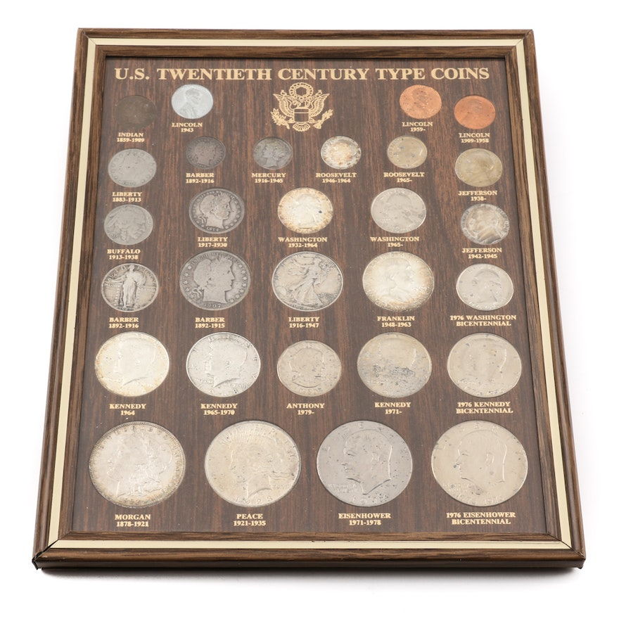 Framed Set of U S  Twentieth Century Type Coins