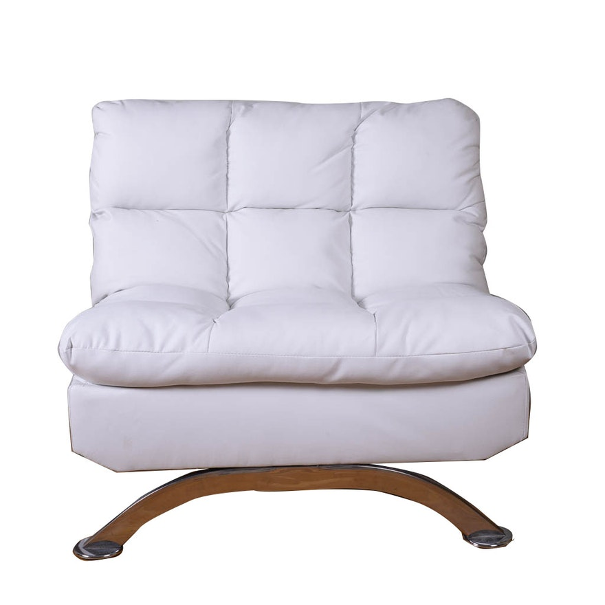 White Tufted Faux Leather Oversized Chair
