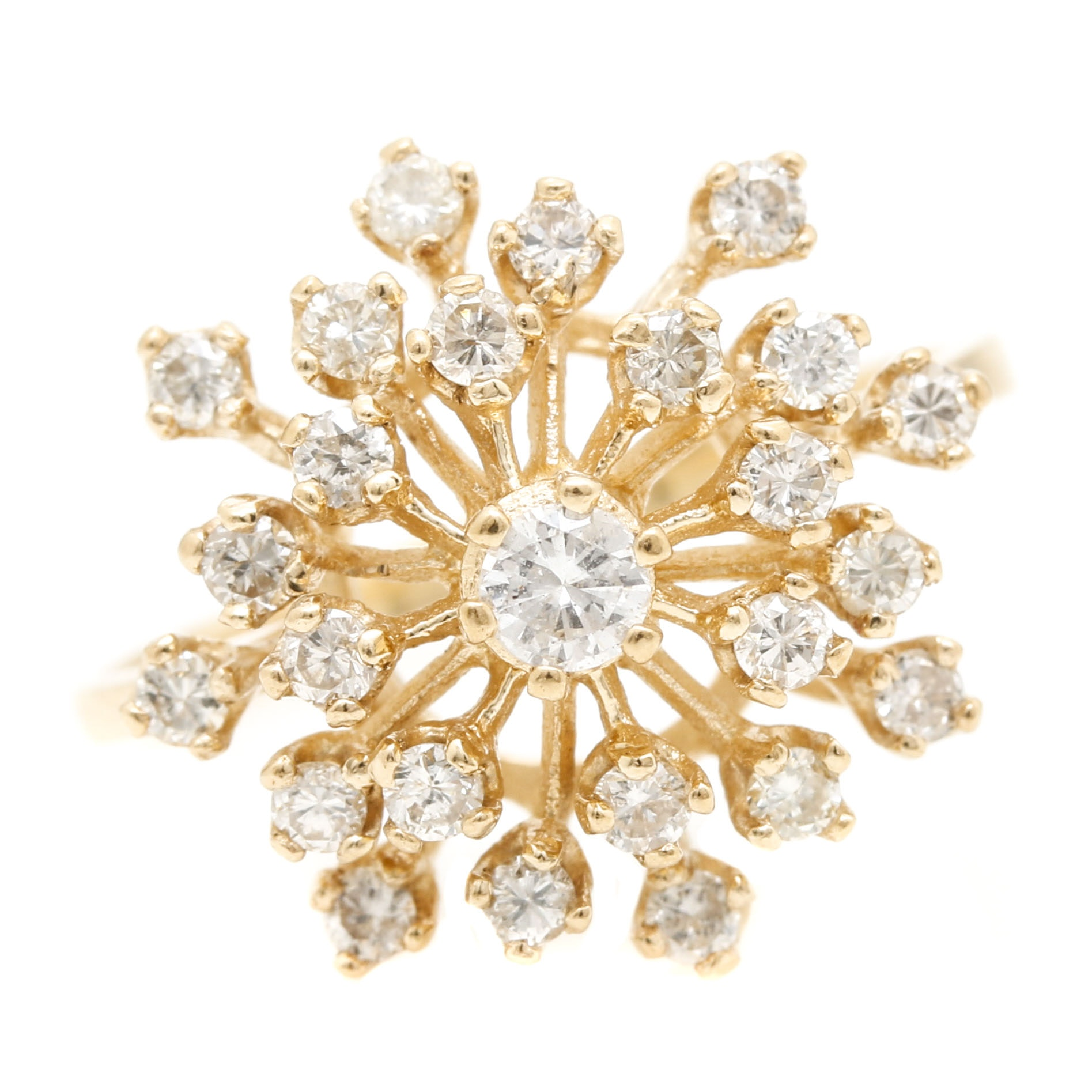 14K Yellow Gold Diamond Starburst Cluster Ring