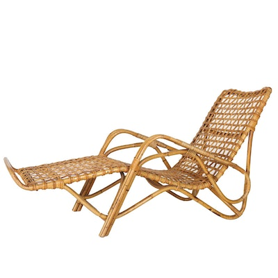 Vintage Rattan Contour Lounge Chair