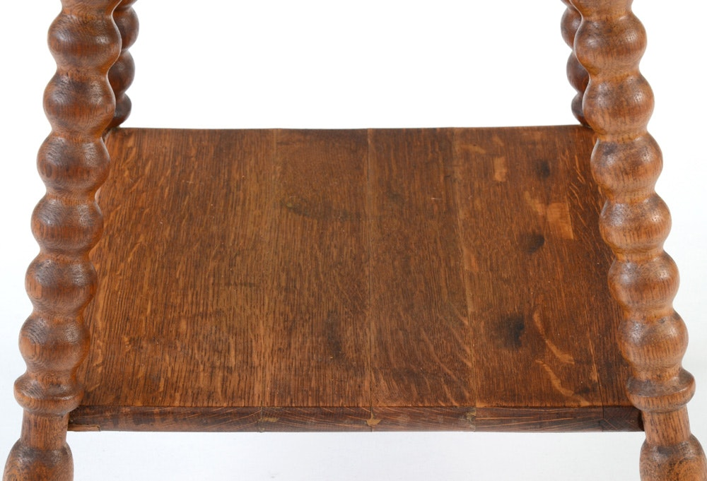 Antique Oak Parlor Table With Piano Stool Ebth