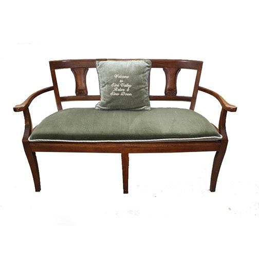 Cane Bench with Cushion