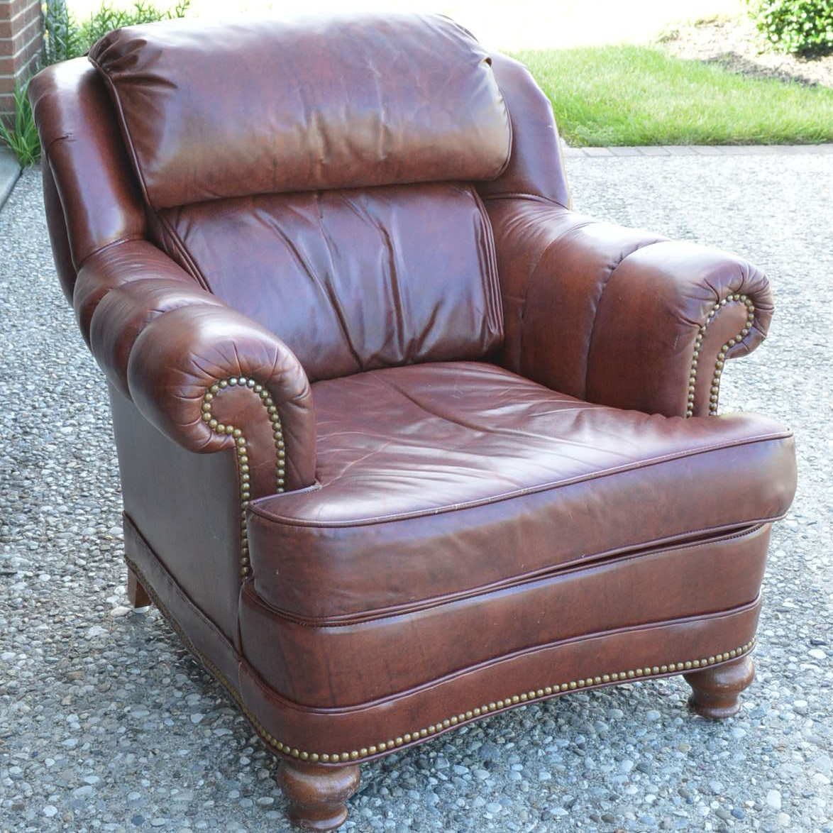 Superieur Vintage Leather Arm Chair By North Hickory Furniture Company ...