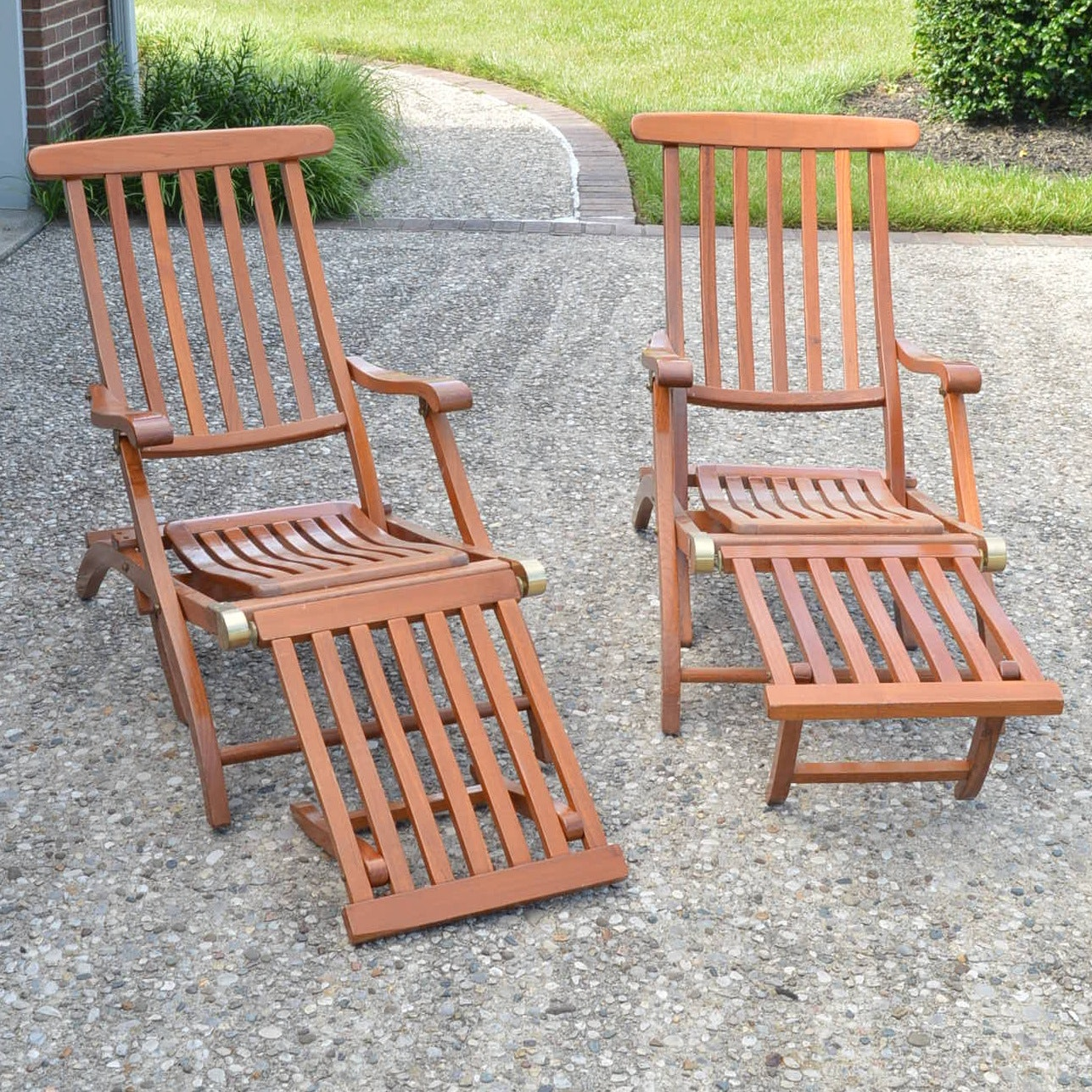 Pair of Outdoor Folding Chairs with Footrest