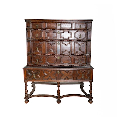 Antique William and Mary Oak Chest on Stand