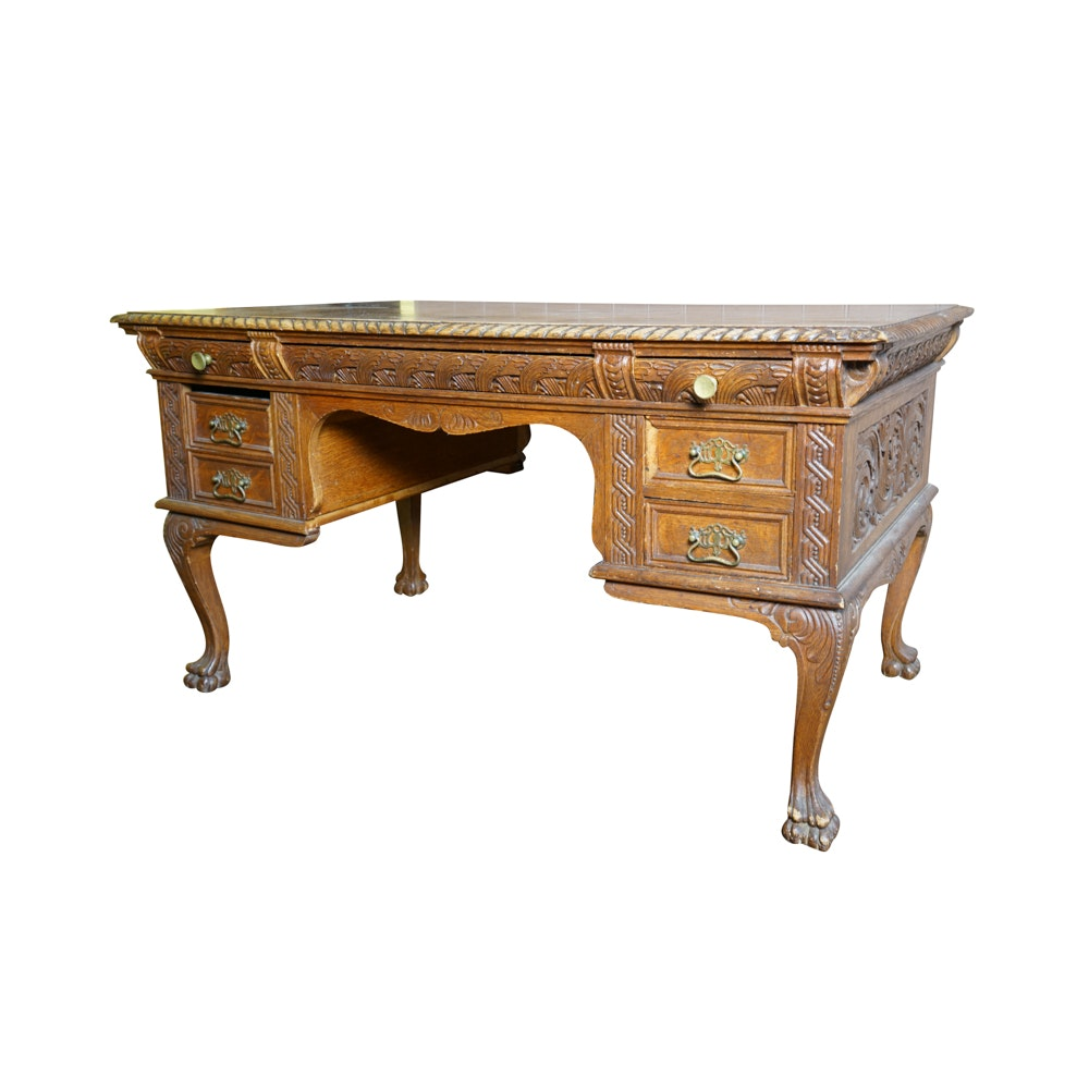 Antique Figural Carved English Oak Desk