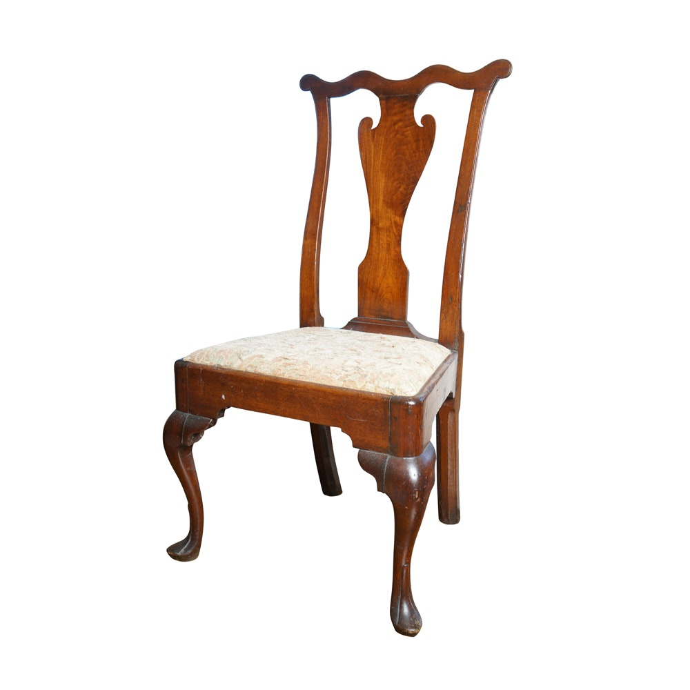 Antique Pennsylvannia Queen Anne Walnut Side Chair, c. 1740-1760