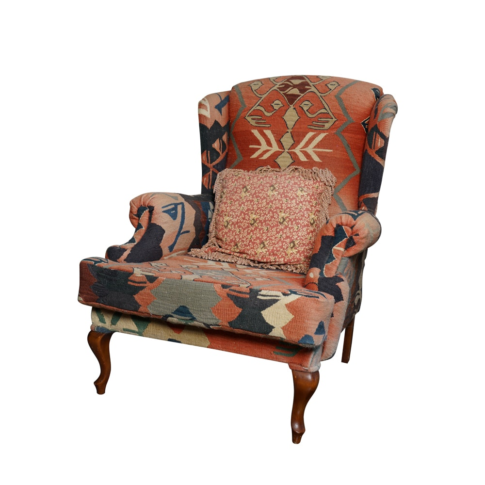 Vintage Kilim Upholstered Wingback Chair