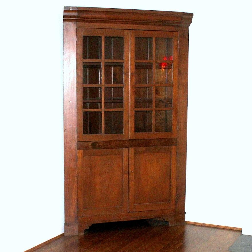 Antique Shaker Style Cherry Corner Cupboard ... - Antique Shaker Style Cherry Corner Cupboard : EBTH