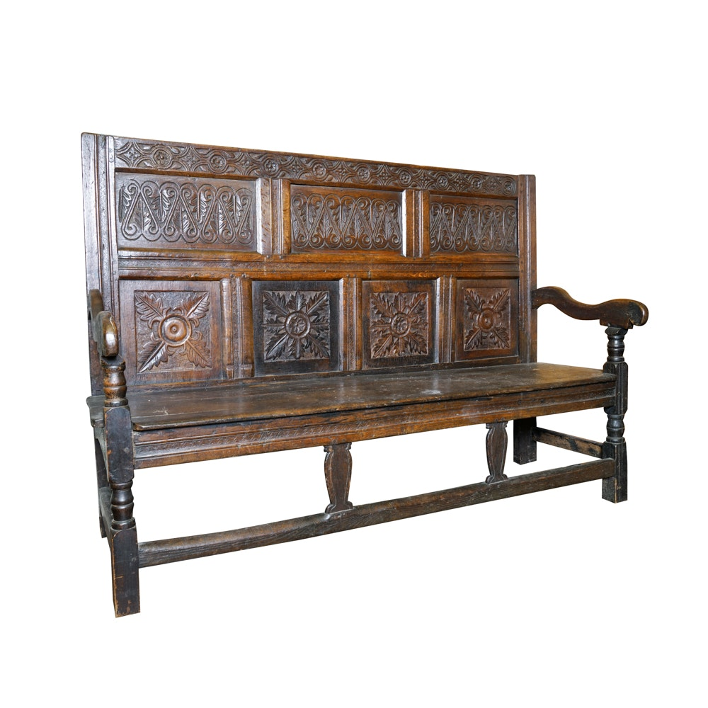Antique Jacobean Style Hand-Carved Oak Bench