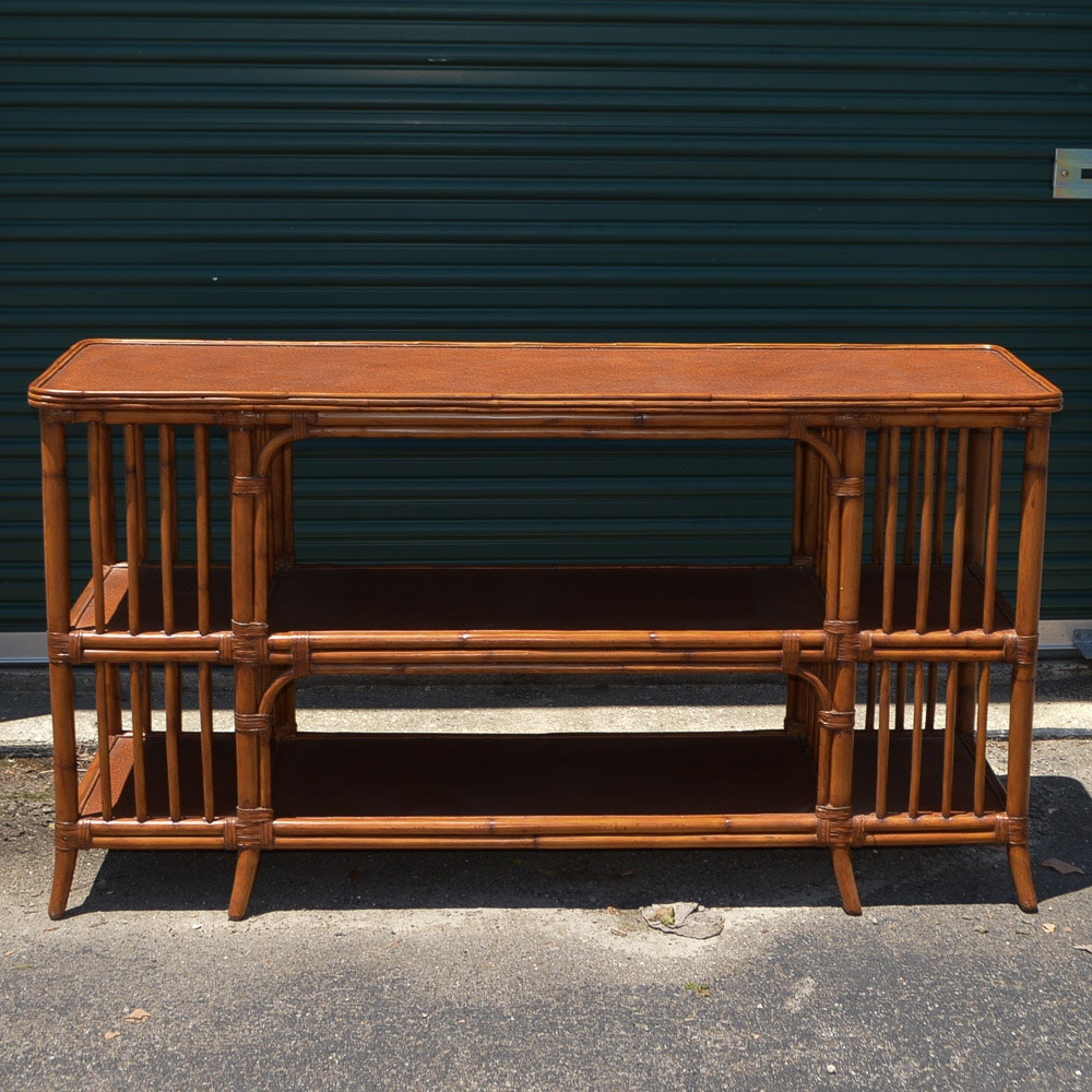 Bamboo and Rattan Console Table