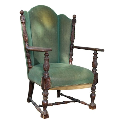 Carved Federal Revival Wing Chair