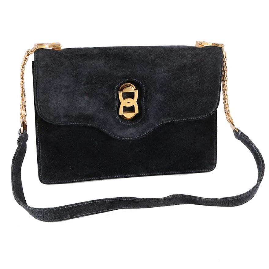Vintage Black Suede Gucci Handbag