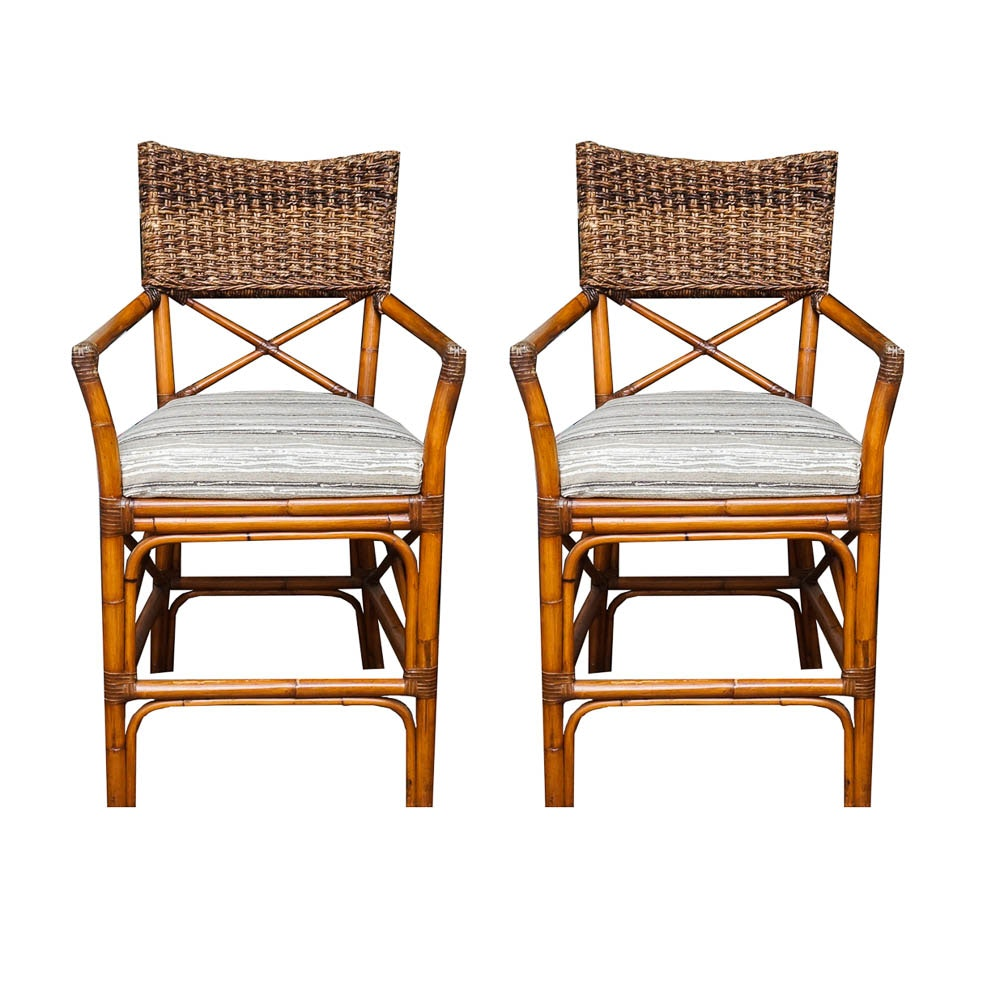 Pair of Rattan and Rope Counter Stools
