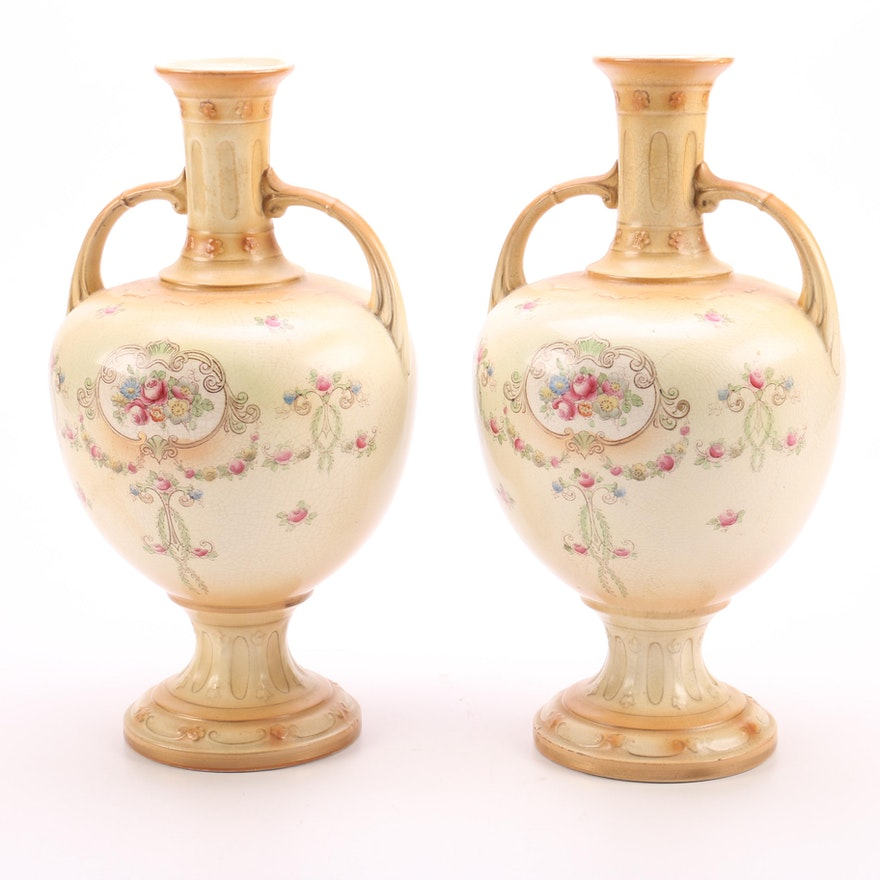 F & Sons Ltd  Milton Burslem England Amphora Vases