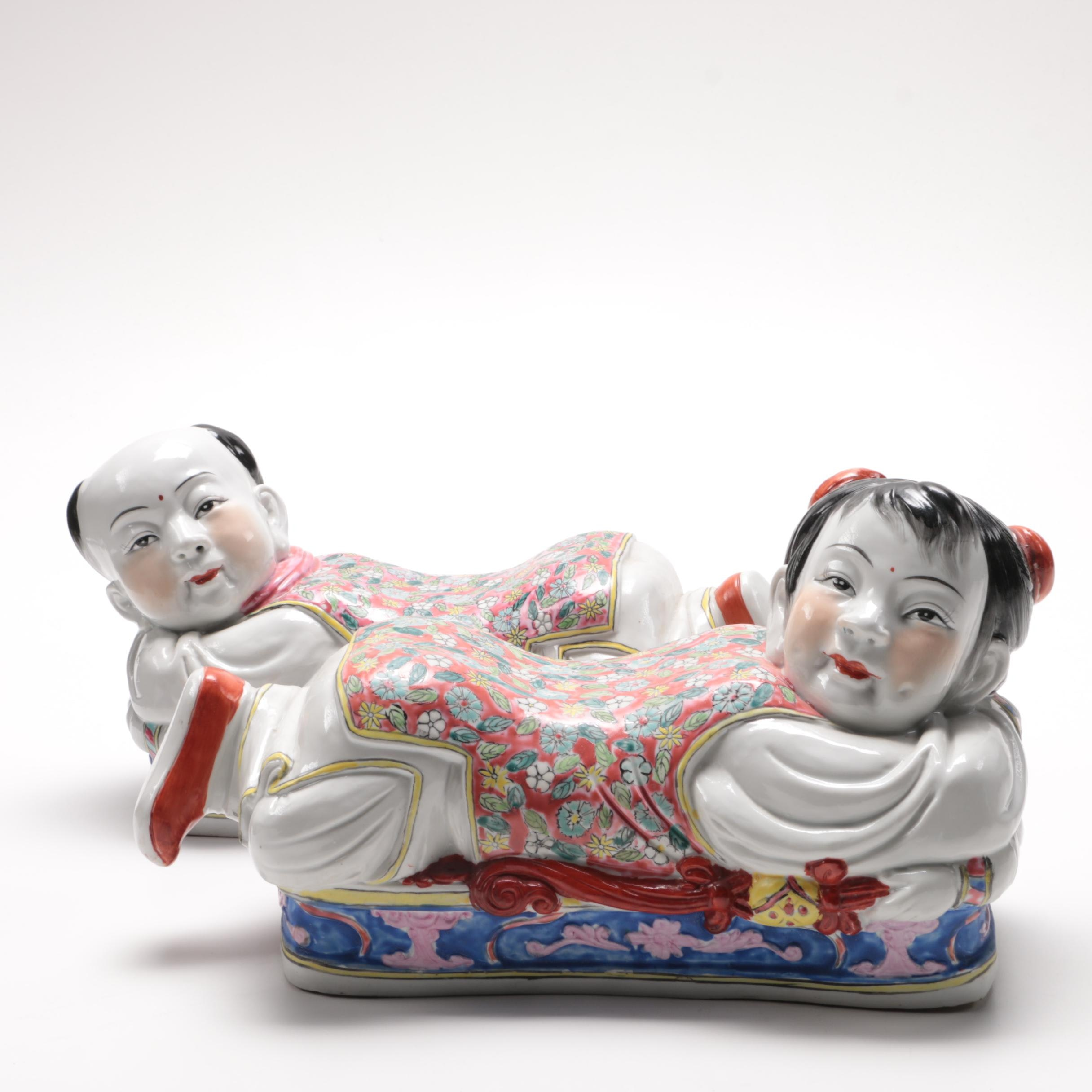 Pair of Chinese Ceramic Figural Pillows