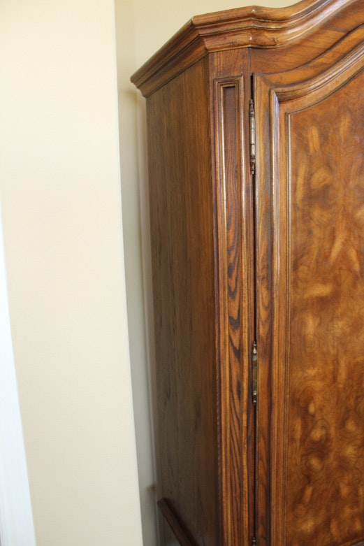 Oak Armoire With Burlwood Veneer By American Of