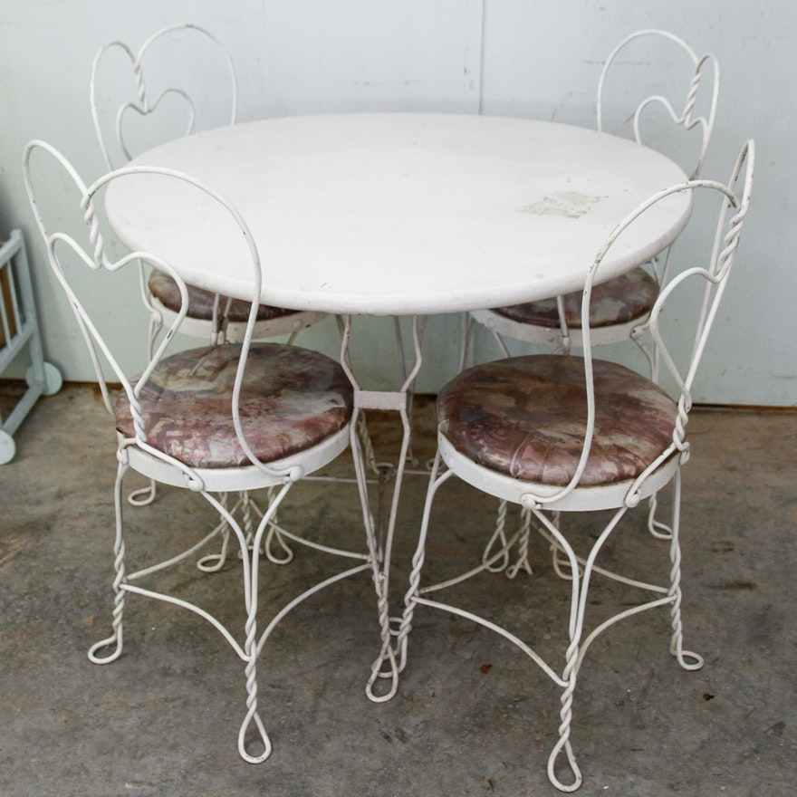 Vintage Ice Cream Parlor Table and Chairs ... - Vintage Ice Cream Parlor Table And Chairs : EBTH