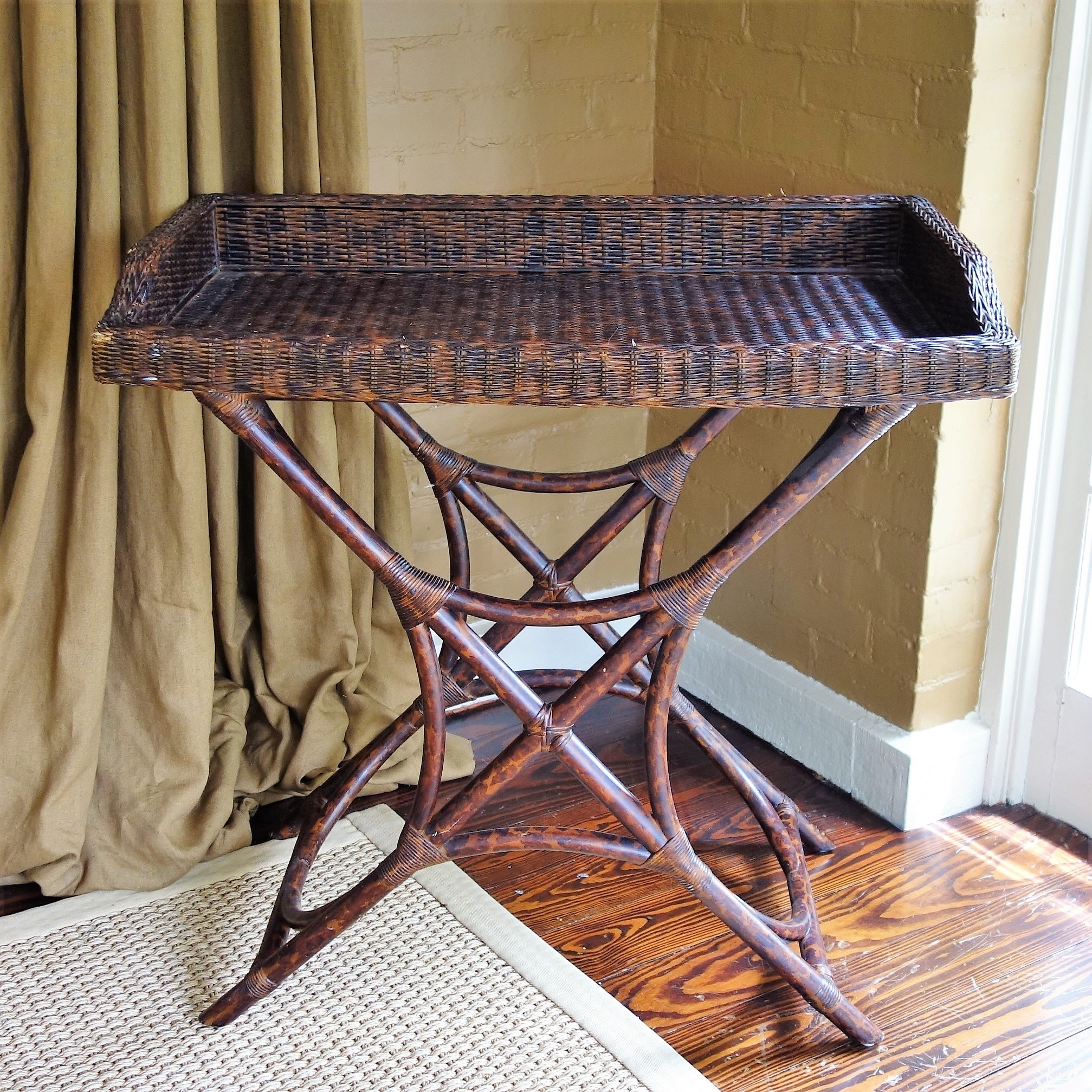 Woven Wicker Butler's Table