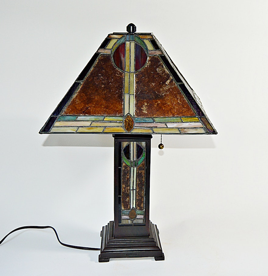 Arts and crafts stained glass table lamp ebth for Arts and crafts glass