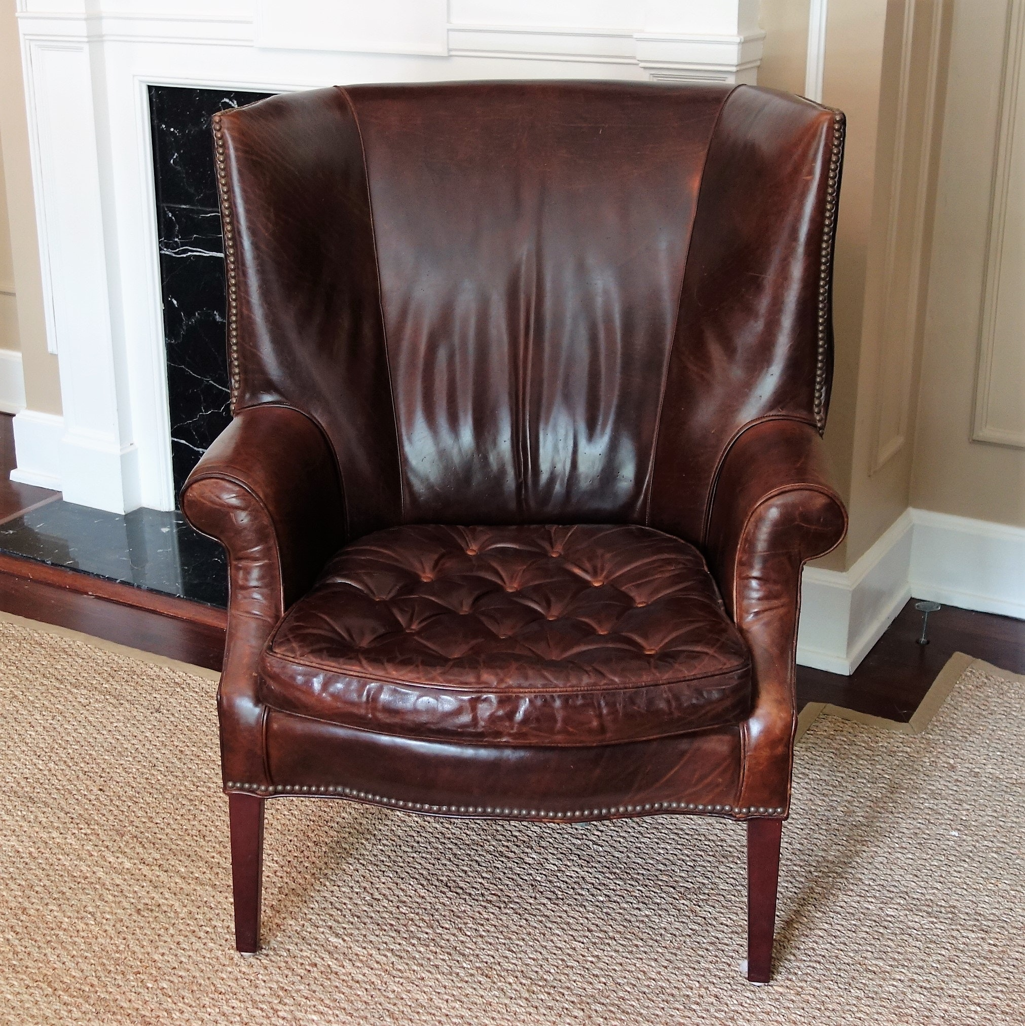 Drake Leather Barrel Back Chair by Restoration Hardware