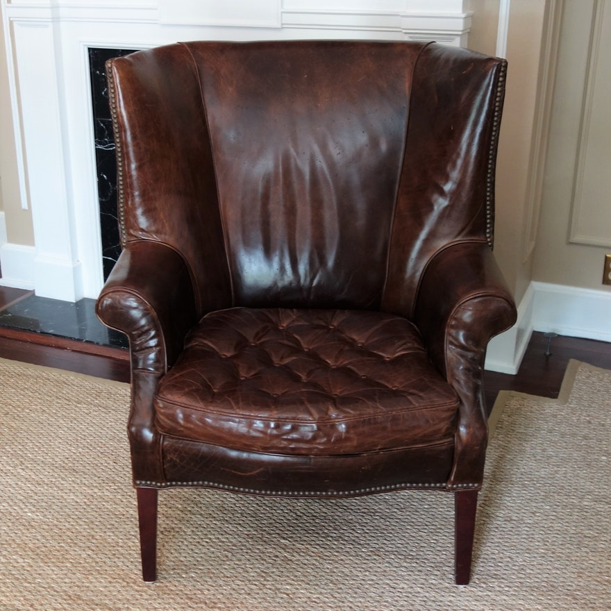 Drake Leather Barrel Back Chair By Restoration Hardware