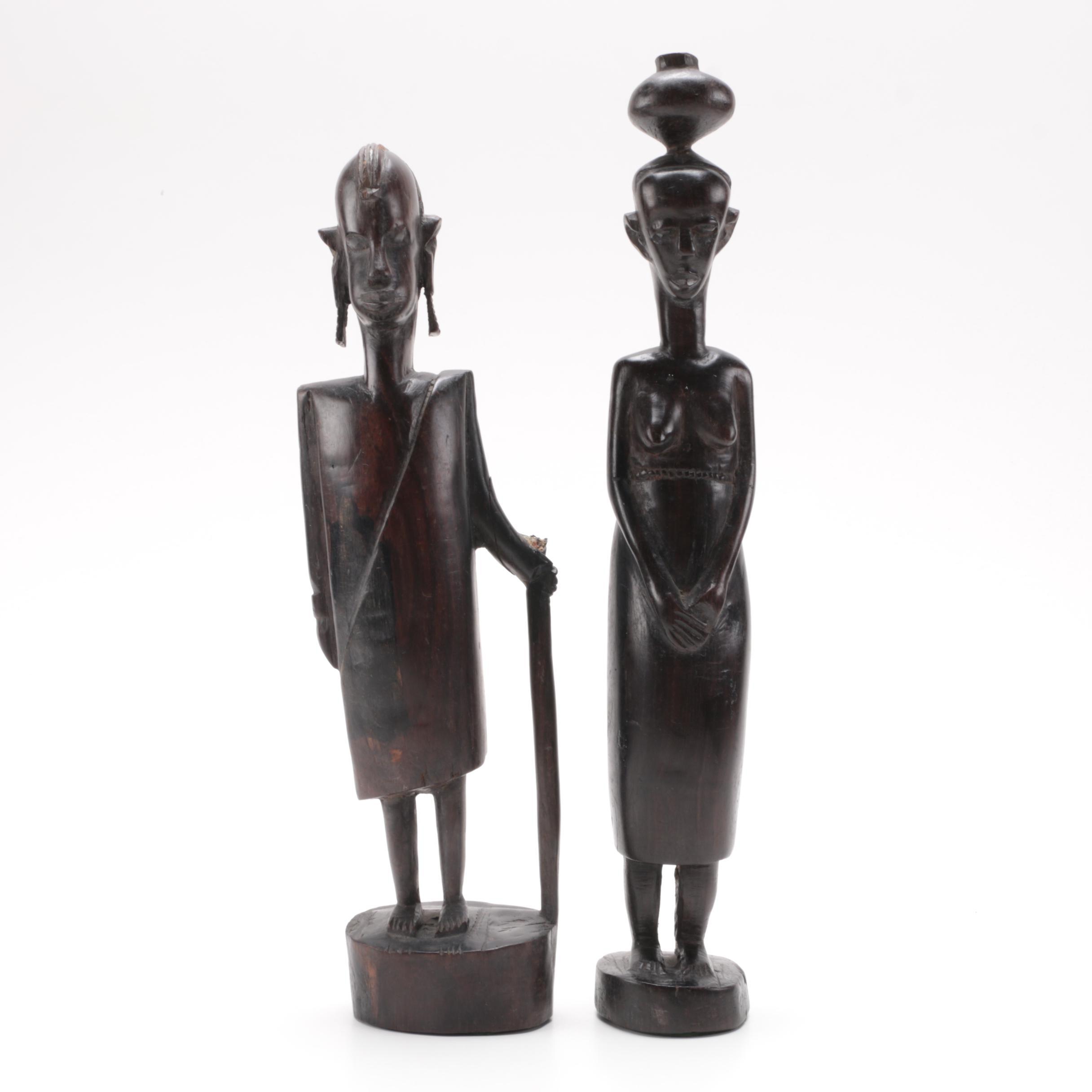 Vintage Kenyan Inspired Carved Wooden Maasai Figures