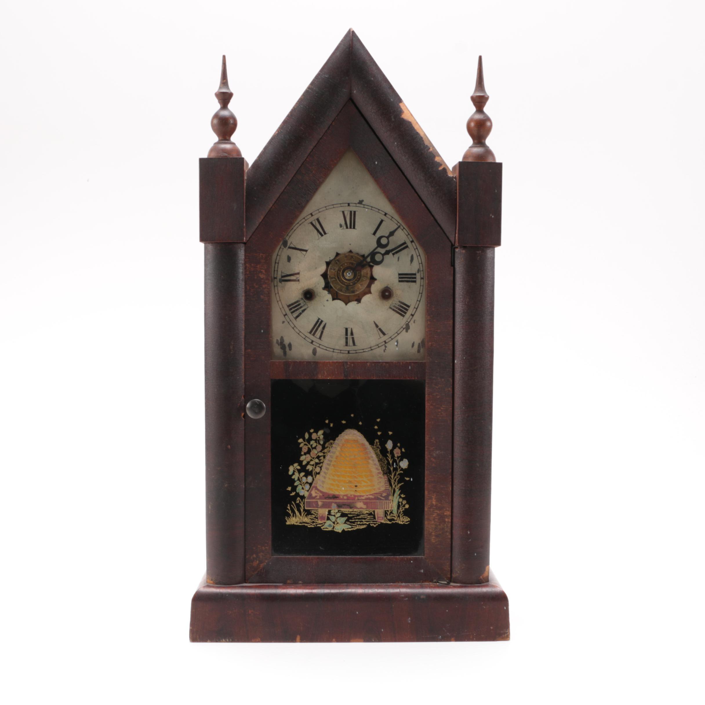 Antique New Haven Clock Co. Wooden Chapel Clock