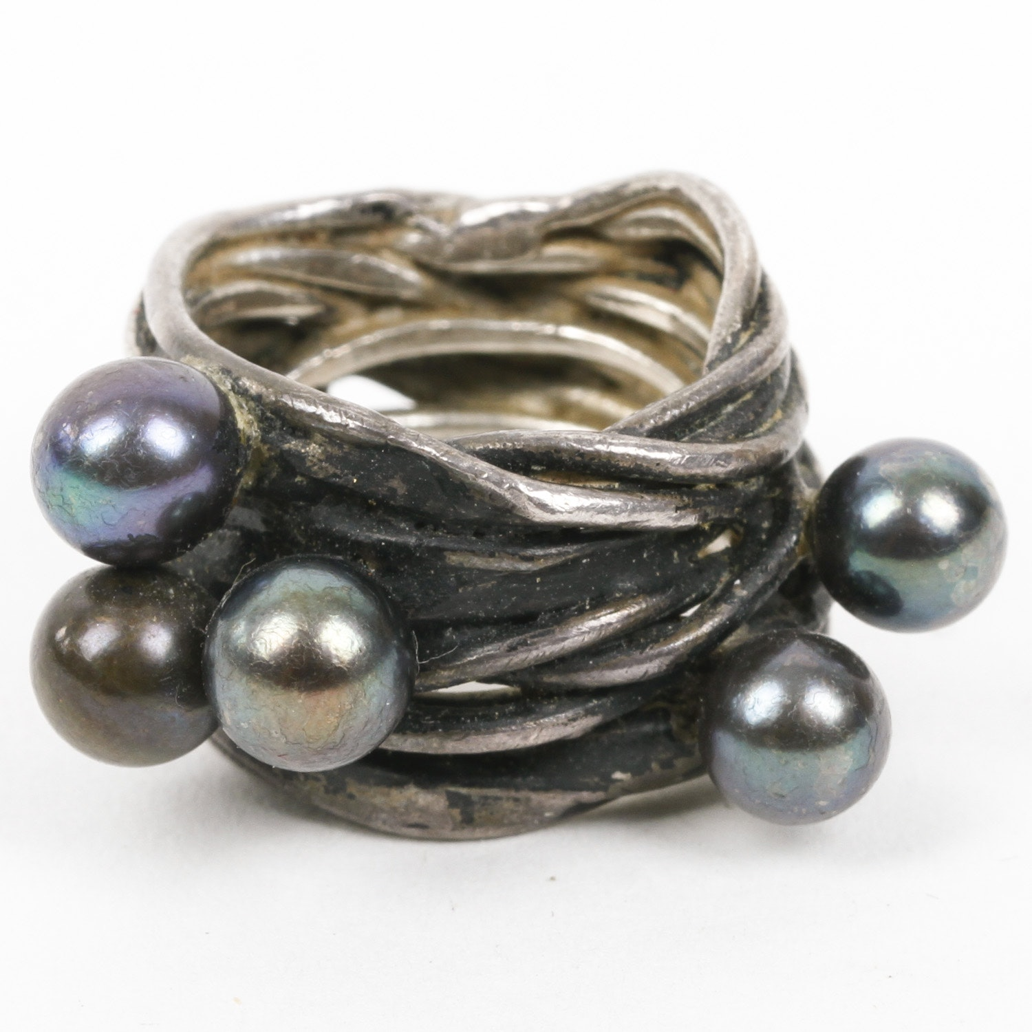 Sterling Silver and Black Pearl Statement Ring