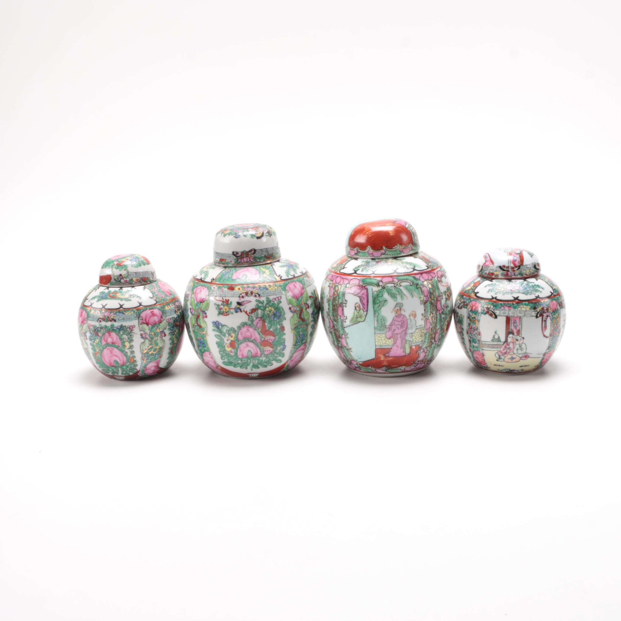 Chinese Rose Medallion Porcelain Ginger Jars
