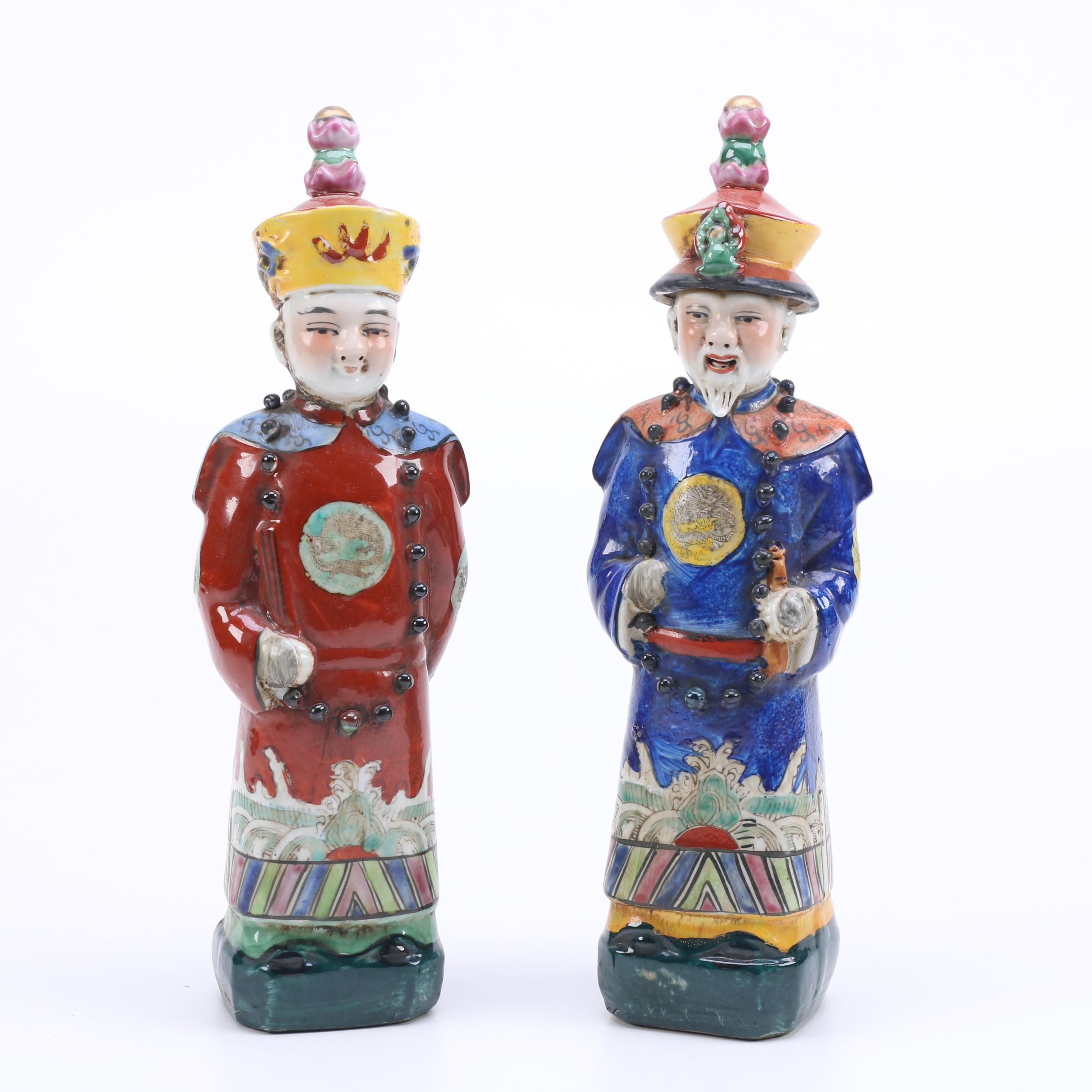 Vintage Figural Salt and Pepper Shakers Depicting Chinese Emperors
