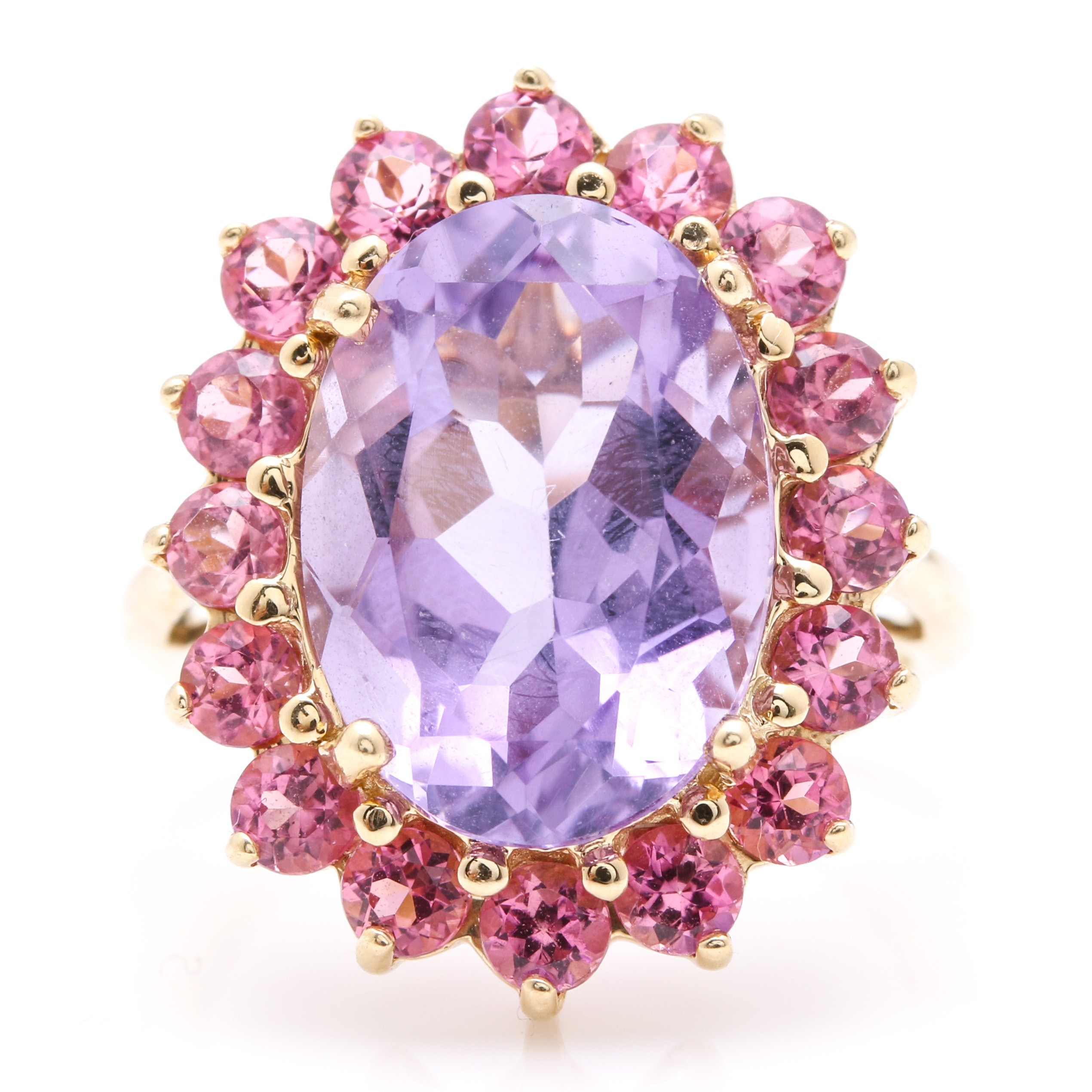 14K Yellow Gold Amethyst and Pink Tourmaline Halo Ring