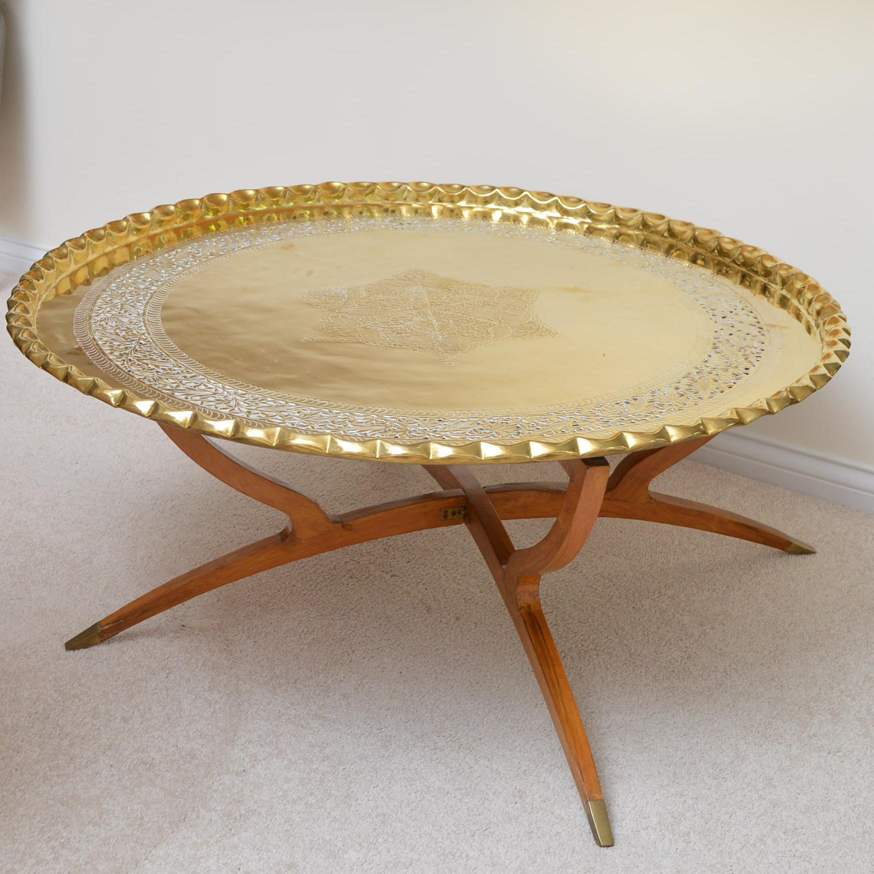 moroccan style collapsible coffee table with tray top : ebth