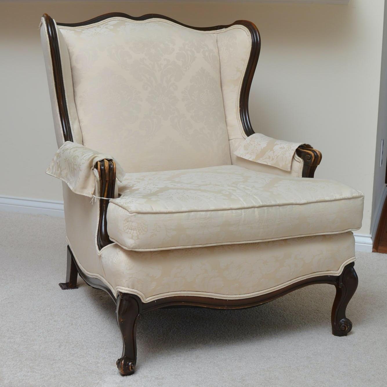 Louis XV Style Upholstered Bergère à Oreilles