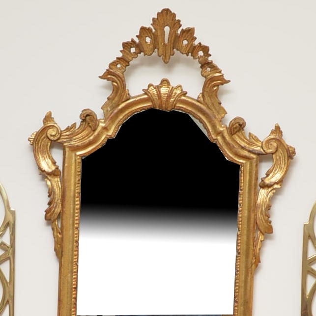 Wall Mirror with Ornate Wood and Gesso Frame