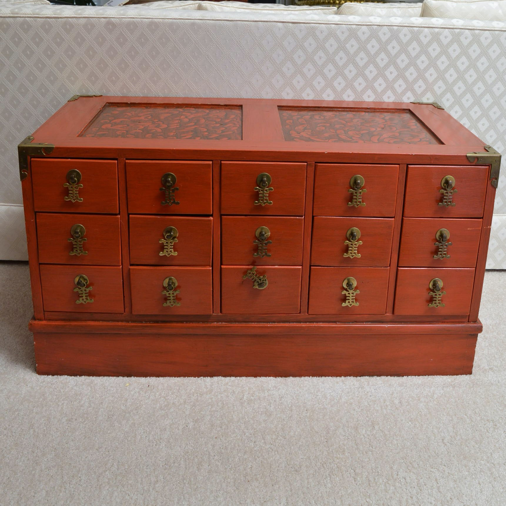 Asian Inspired Apothecary Style Cabinet ...