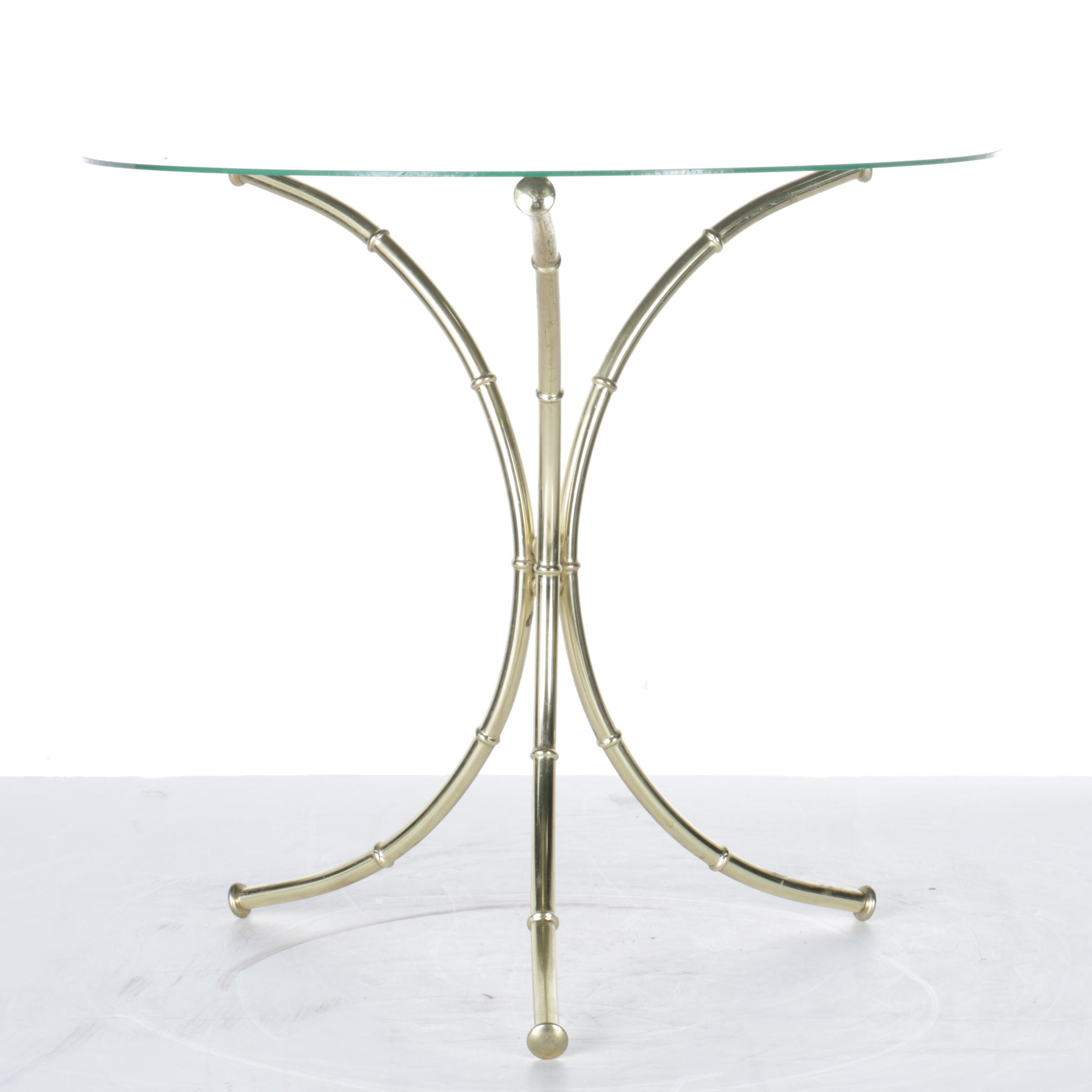 Gold Tone Faux Bamboo End Table ...
