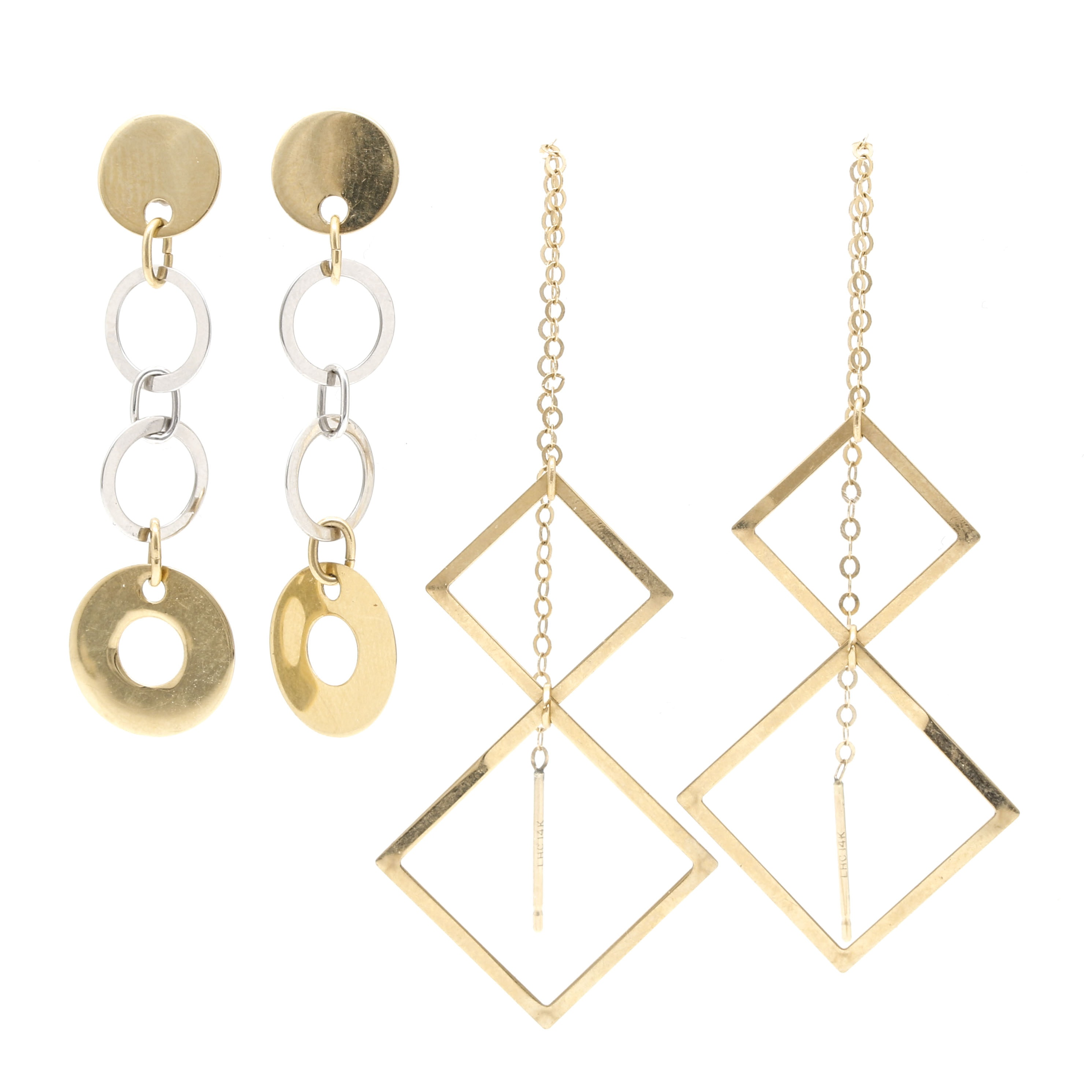 14K Yellow and White Gold Geometric Earrings by Candela and Leon Hall