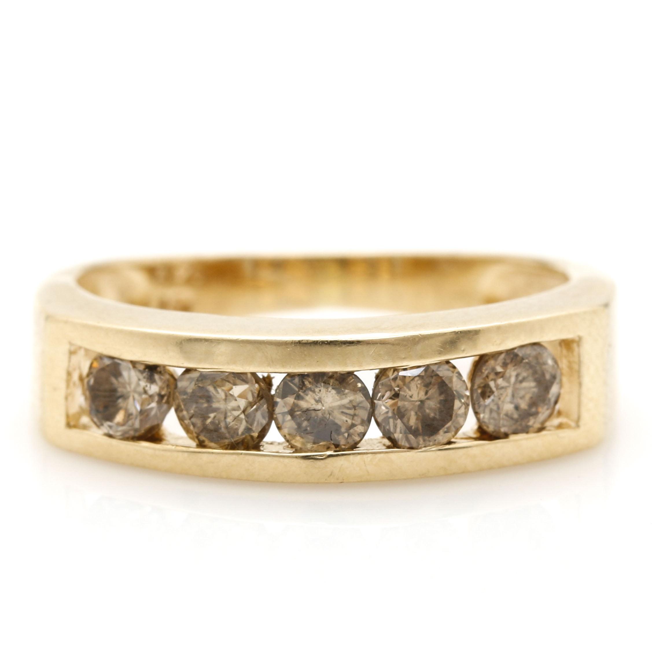 14K Yellow Gold Light Brown Diamond Ring