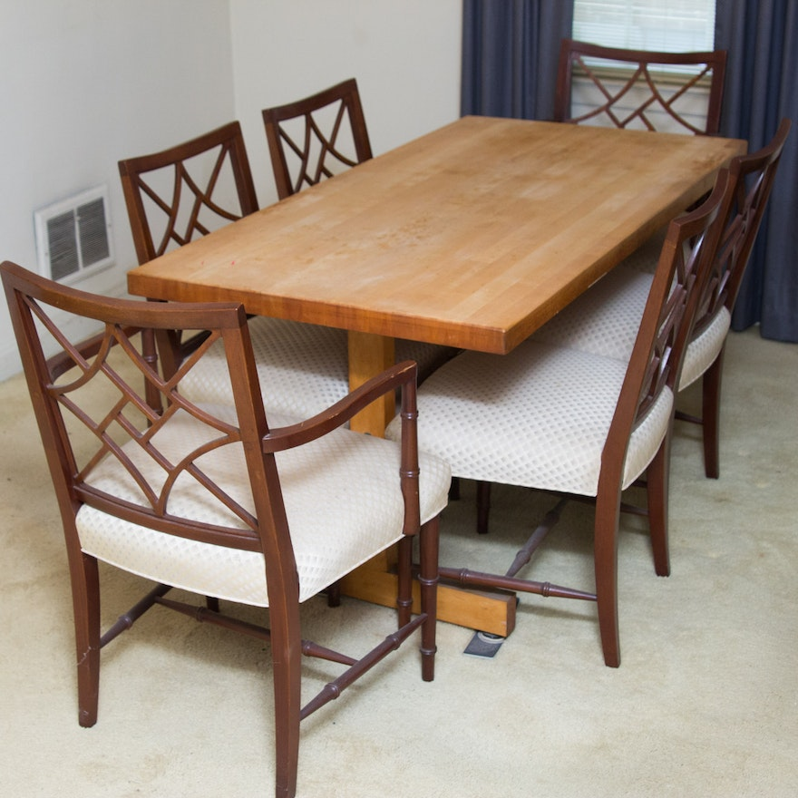 Butcher Block Kitchen Tables And Chairs: Butcher Block Trestle Base Dining Table And Chairs