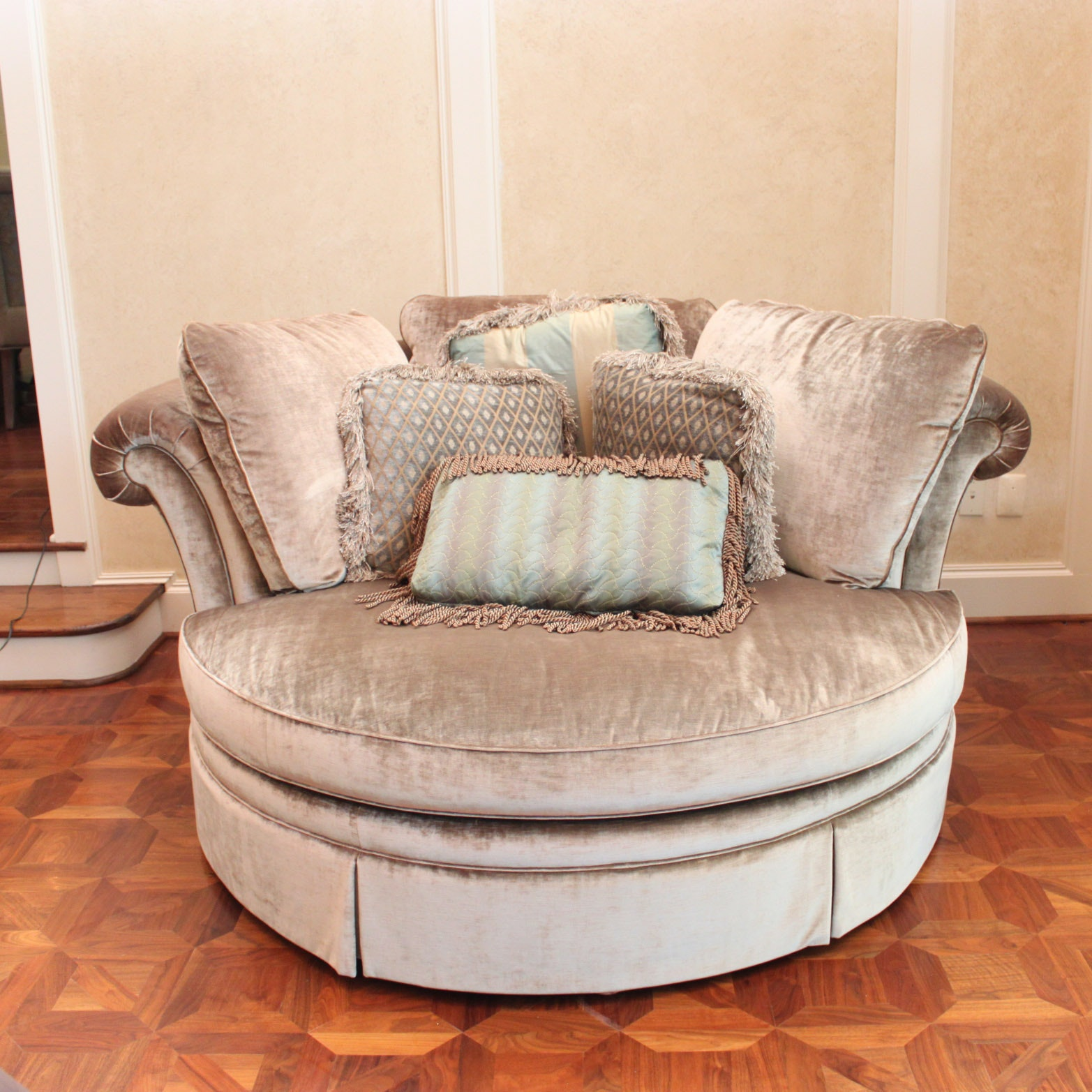 Gentil Round Over Sized Velour Chair By Taylor King