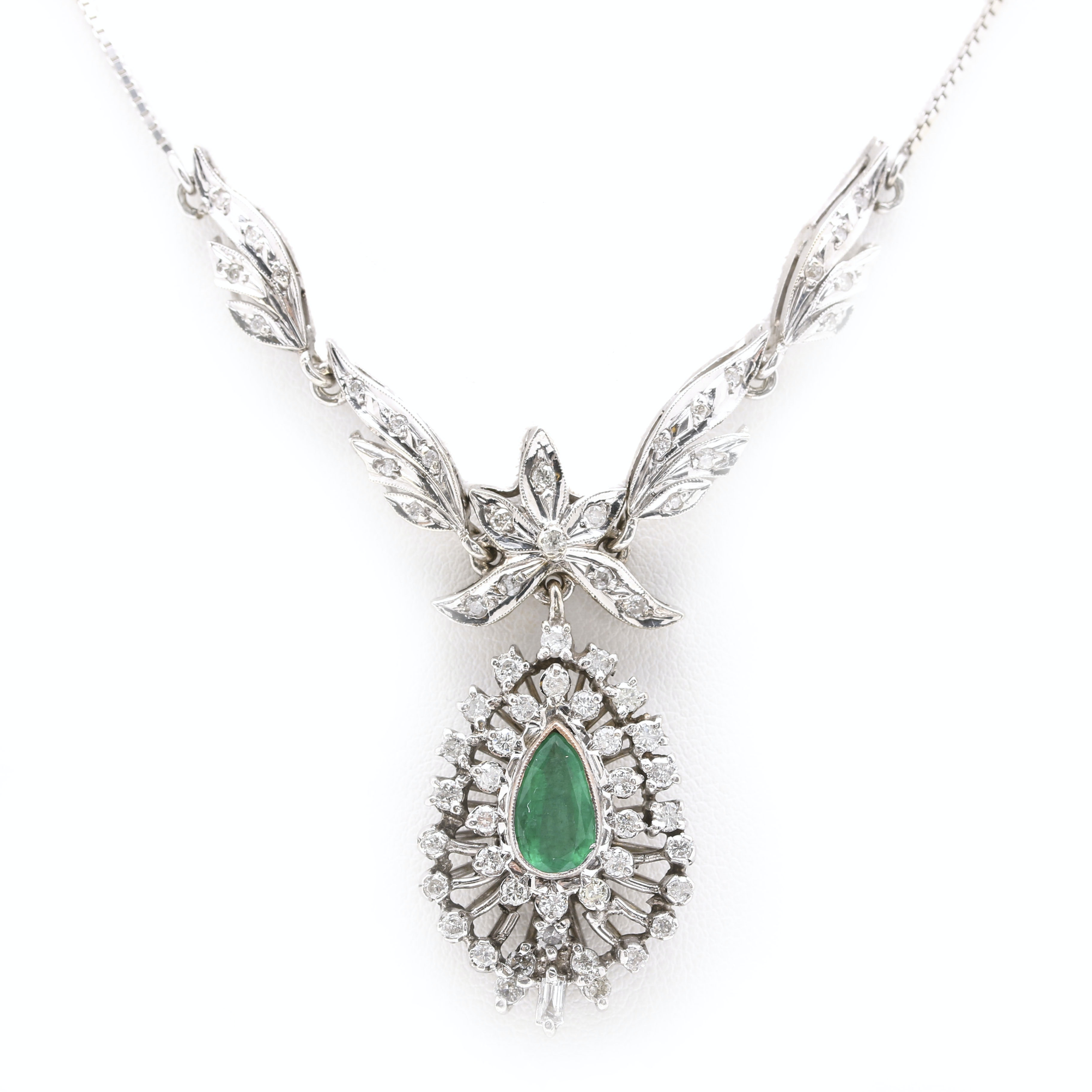 10K and 18K White Gold Emerald and 1.54 CTW Diamond Necklace