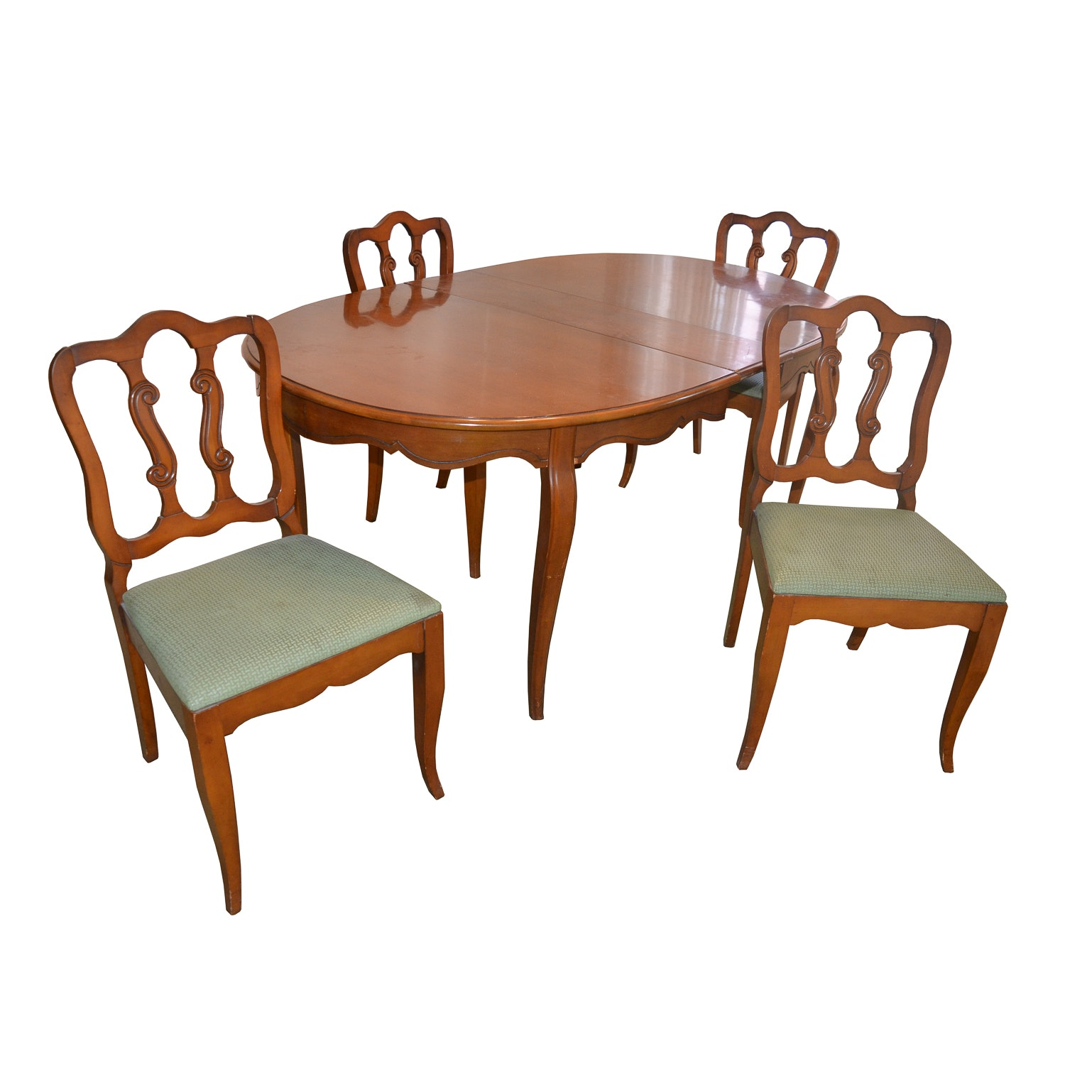 French Provincial Style Oval Dining Table And Dining Chairs : Ebth